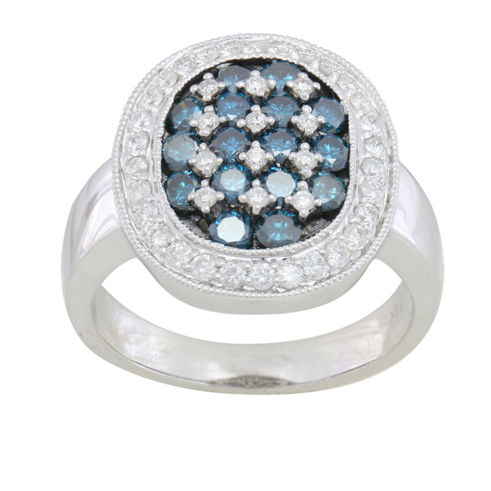 Blue and White Diamond Ring 2.08cttw 14kt Gold