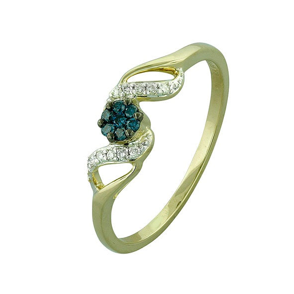 Blue and White Diamond Ring 1.12cttw 14kt Gold
