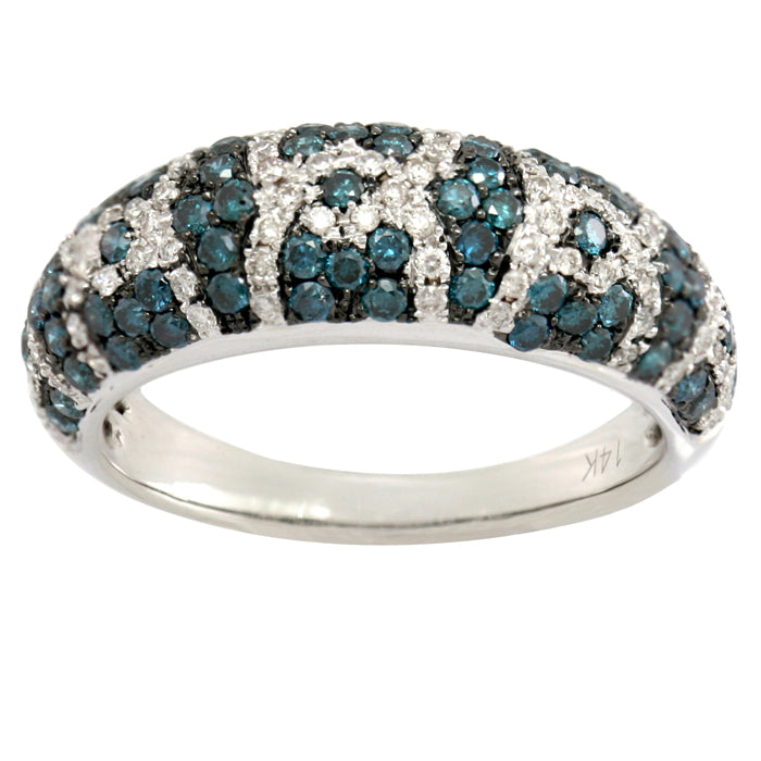Blue and White Diamond Ring 2.05cttw 14kt Gold