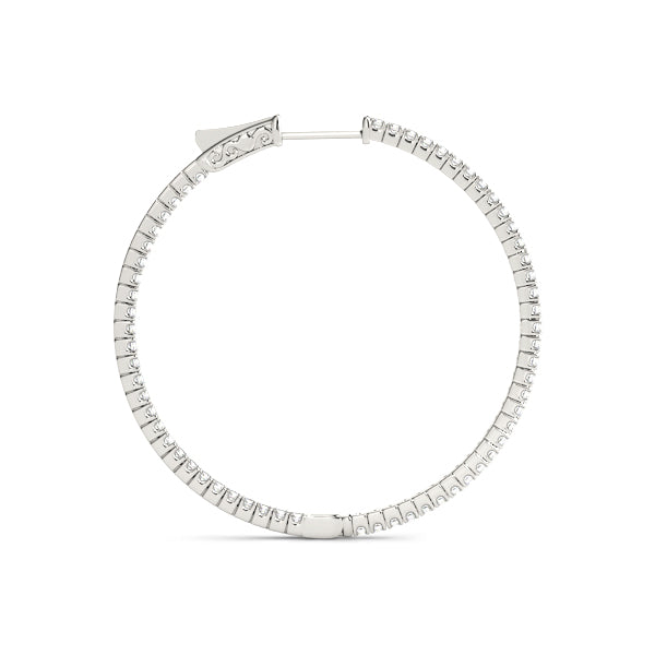 "Diamond Hoop 1.10 ct tw 14kt Gold White - 1"" inches"