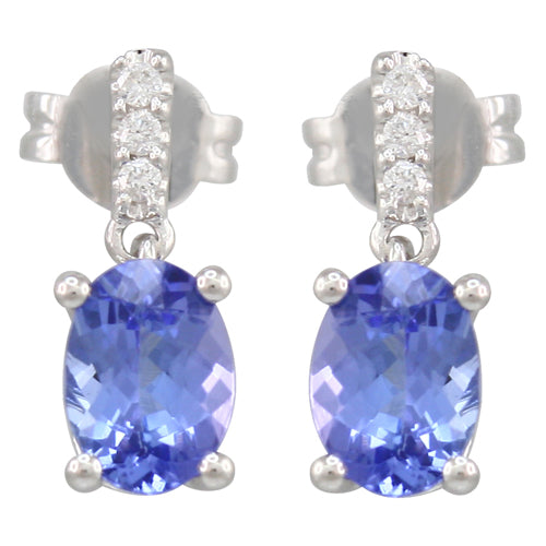 Tanzanite 1.20 ct tw earrings with 0.15 ct tw Diamonds & 14kt Gold