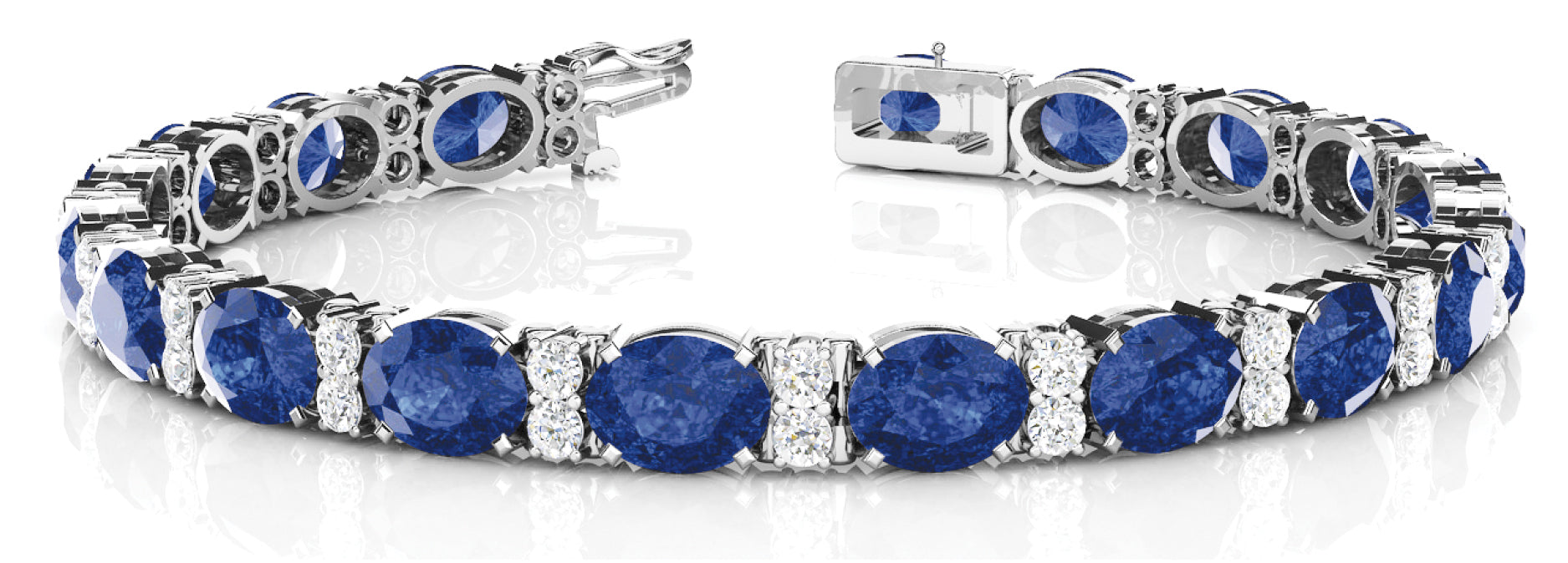 Sapphire 12.24ct & Diamond 0.48ct Bracelet - 14kt White Gold
