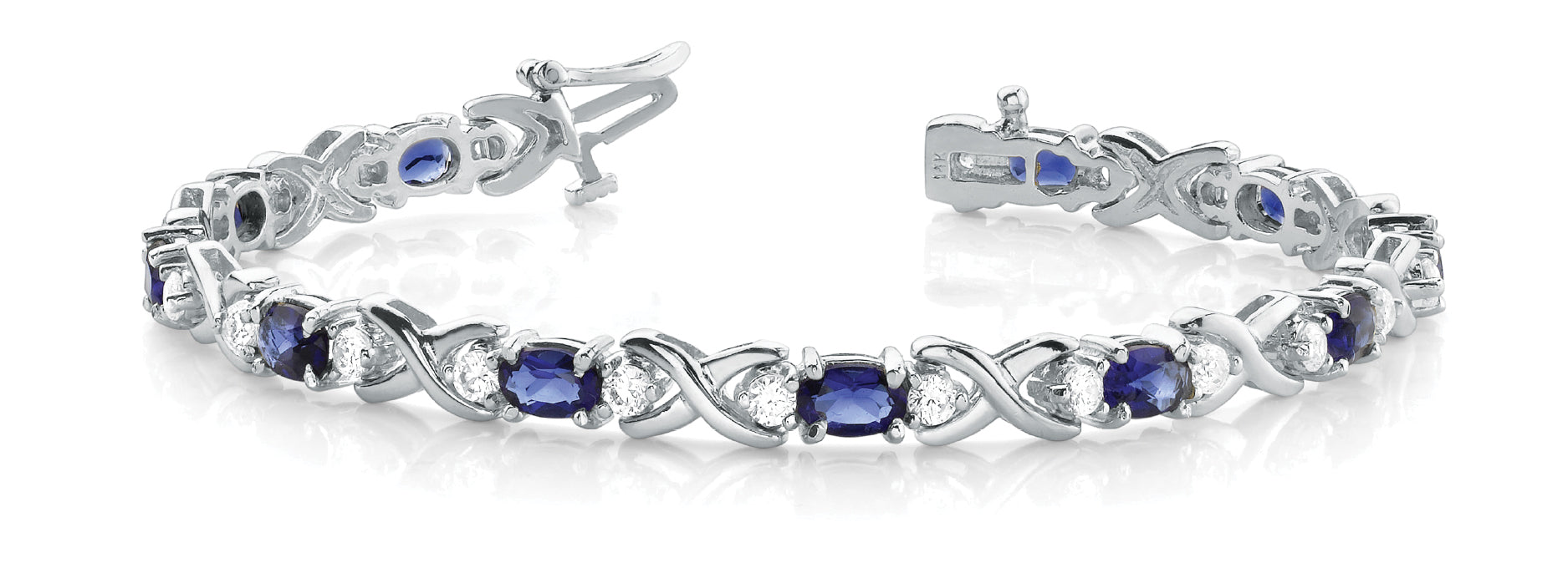 Sapphire 5.90ct & Diamond 0.98ct Bracelet - 14kt White Gold