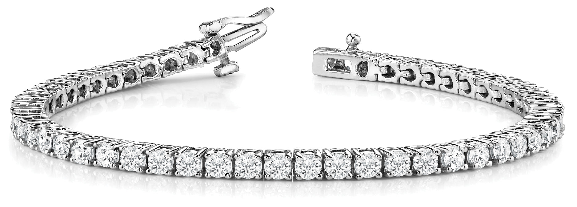 Line Diamond Bracelet 2.91ct tw Ladies - 14kt White Gold