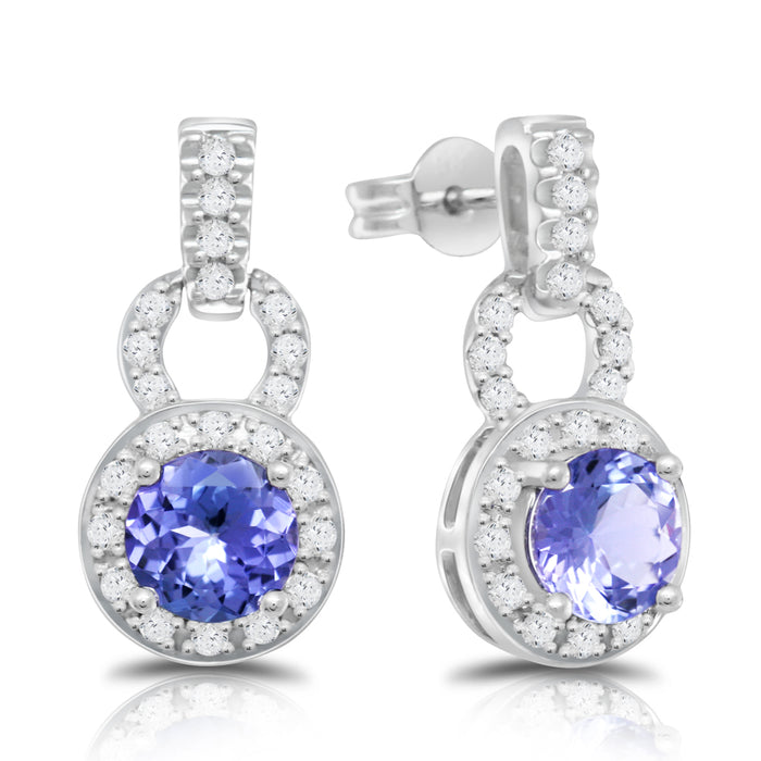 Tanzanite 1.80 ct tw earrings with .60 ct tw diamonds & 14kt Gold