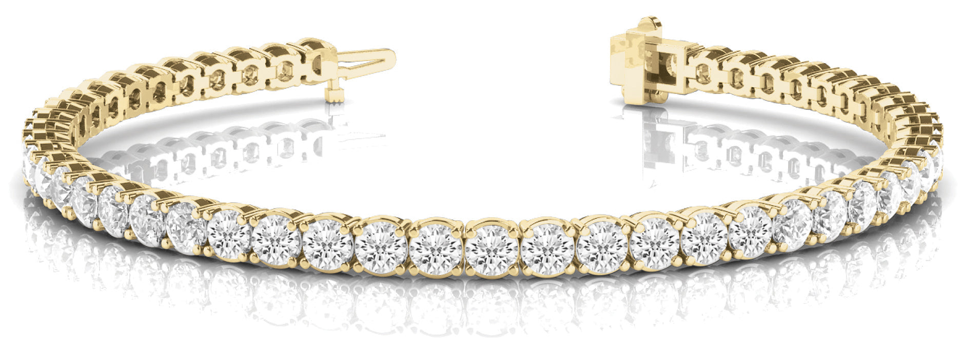 Line Diamond Bracelet 3.31ct tw Ladies - 14kt Yellow Gold