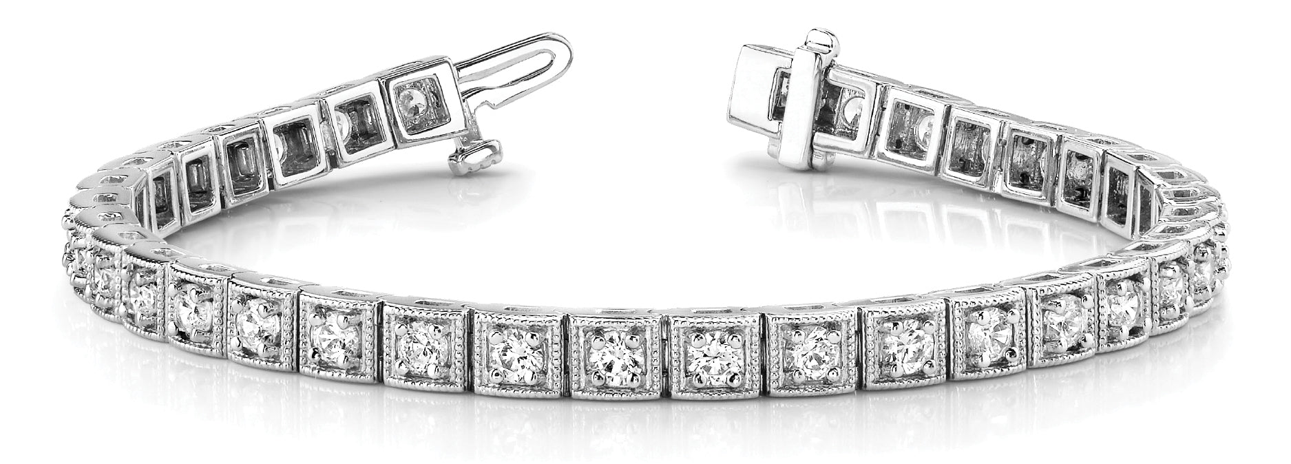 Line Diamond Bracelet 2.13ct tw Ladies - 14kt White Gold