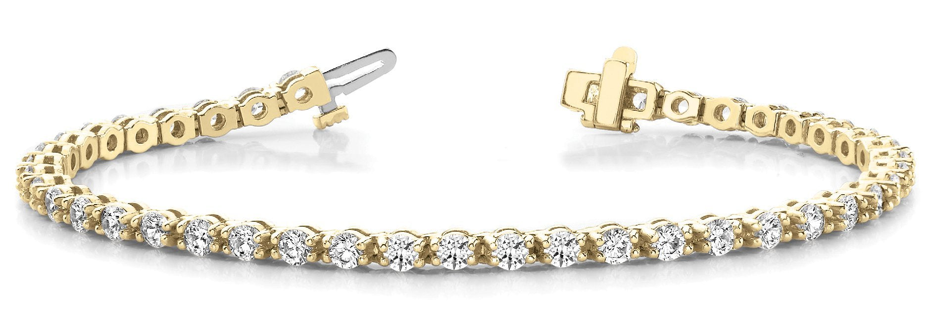 Line Diamond Bracelet 5.13ct tw Ladies - 14kt Yellow Gold