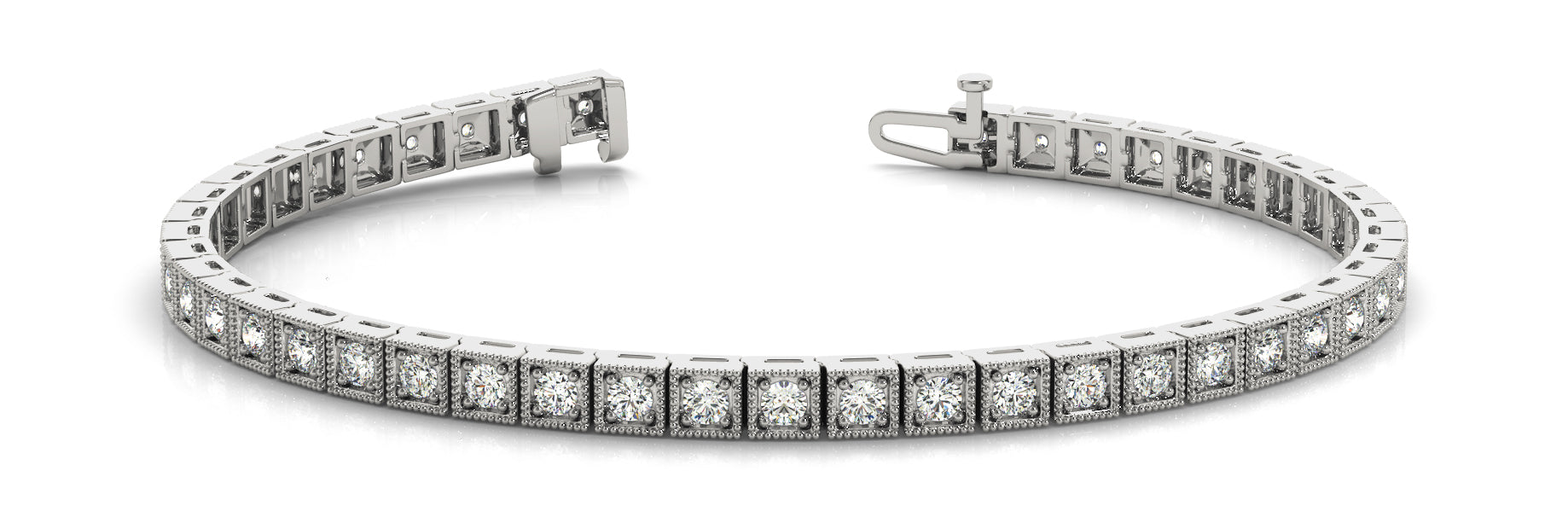 Line Diamond Bracelet 1.06ct tw Ladies - 14kt White Gold