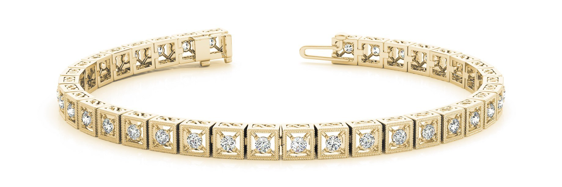 Fancy Diamond Bracelet Ladies 0.86ct tw - 14kt Yellow Gold