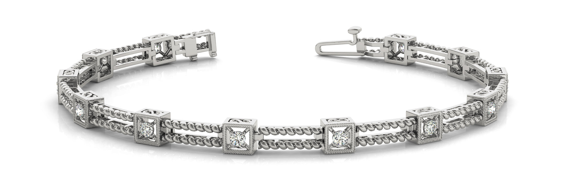 Fancy Diamond Bracelet Ladies 0.31ct tw - 14kt White Gold