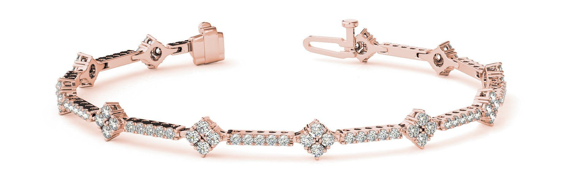 Fancy Diamond Bracelet Ladies 1.68ct tw - 14kt Rose Gold