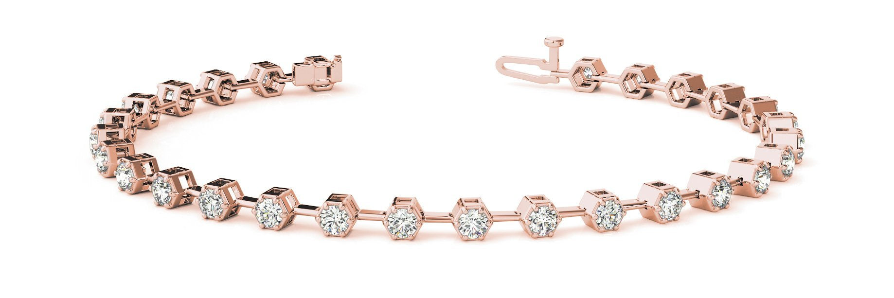 Fancy Diamond Bracelet Ladies 3.34ct tw - 14kt Rose Gold