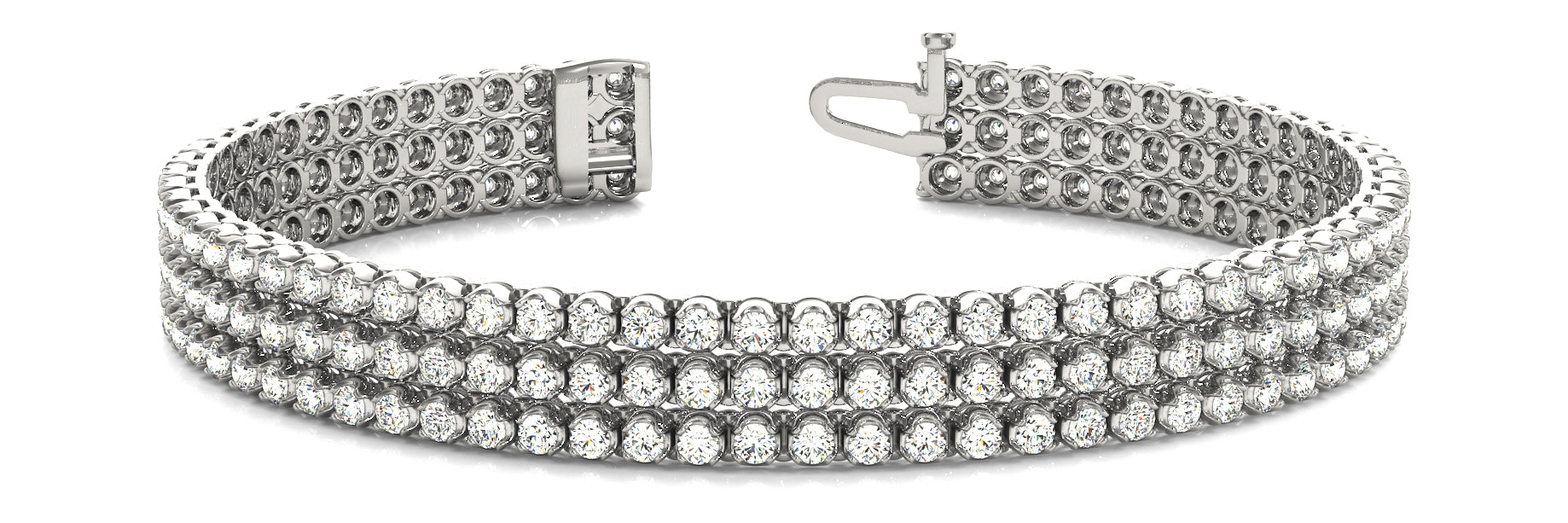 Line Diamond Bracelet 4.39ct tw Ladies - 14kt White Gold