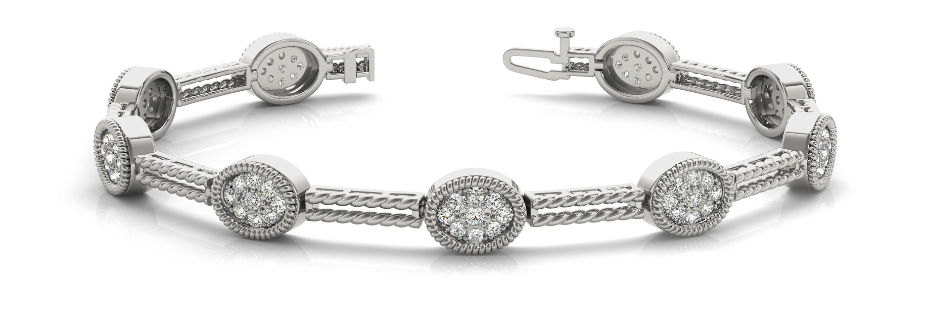 Fancy Diamond Bracelet Ladies 1.91ct tw - 14kt White Gold