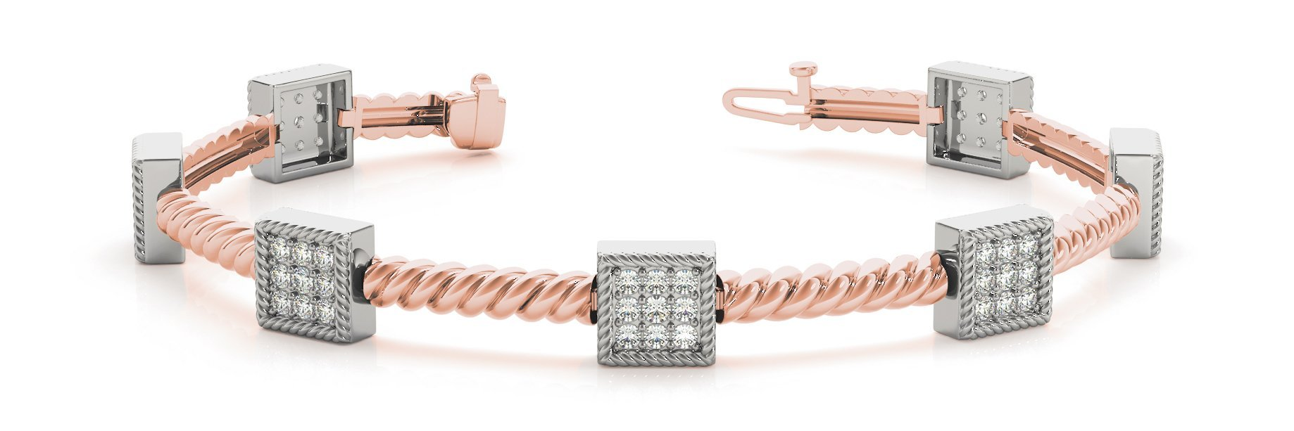 Fancy Diamond Bracelet Ladies 1.47ct tw - 14kt Rose Gold