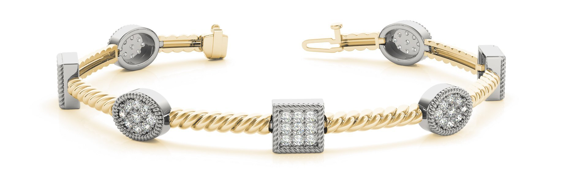 Fancy Diamond Bracelet Ladies 1.67ct tw - 14kt Yellow Gold
