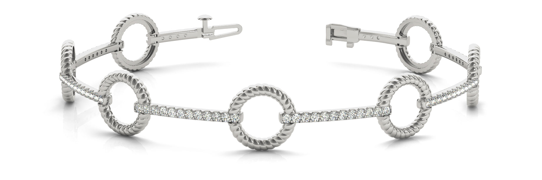 Fancy Diamond Bracelet Ladies 1.08ct tw - 14kt White Gold