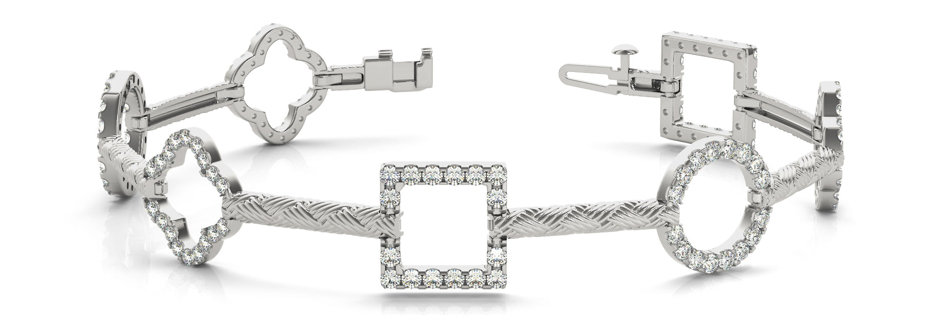 Fancy Diamond Bracelet Ladies 1.41ct tw - 14kt White Gold
