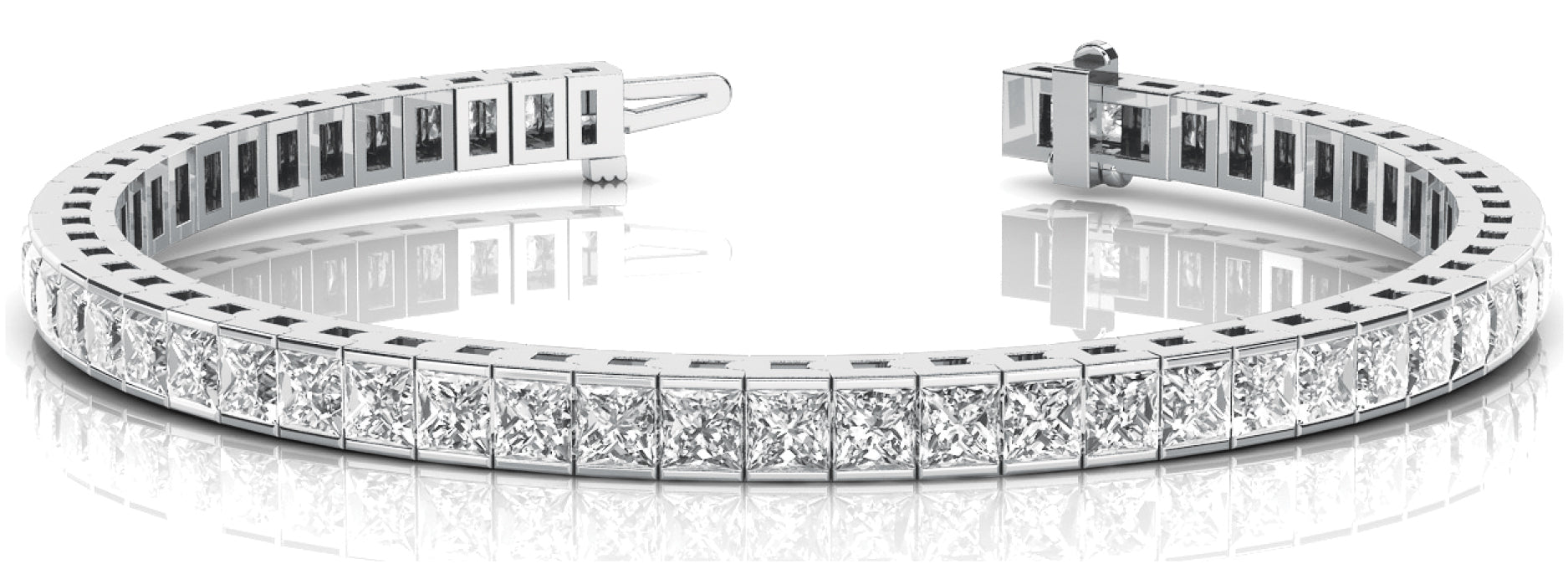Line Diamond Bracelet 4.07ct tw Ladies - 14kt White Gold