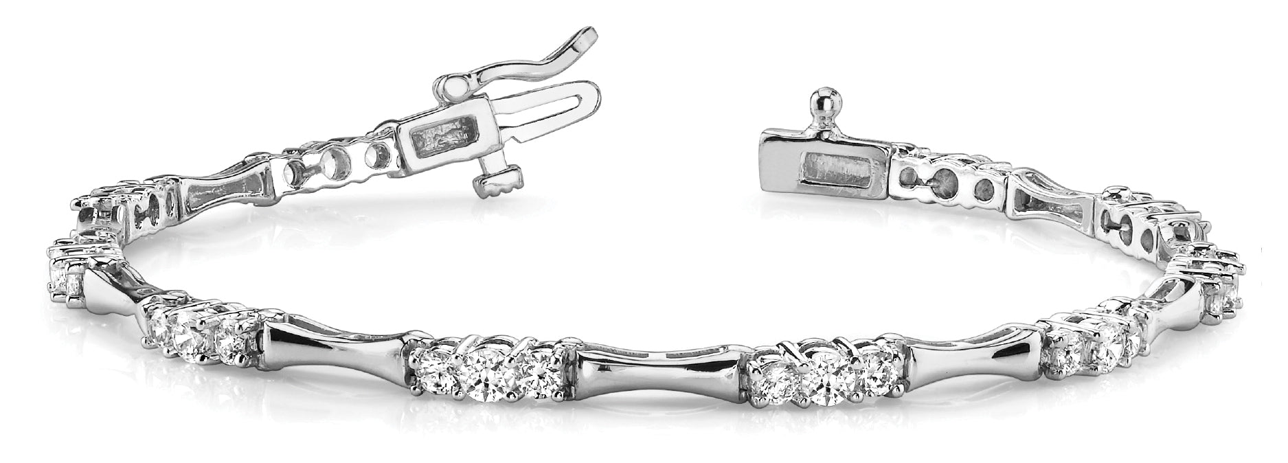 Fancy Diamond Bracelet Ladies 2.13ct tw - 14kt White Gold