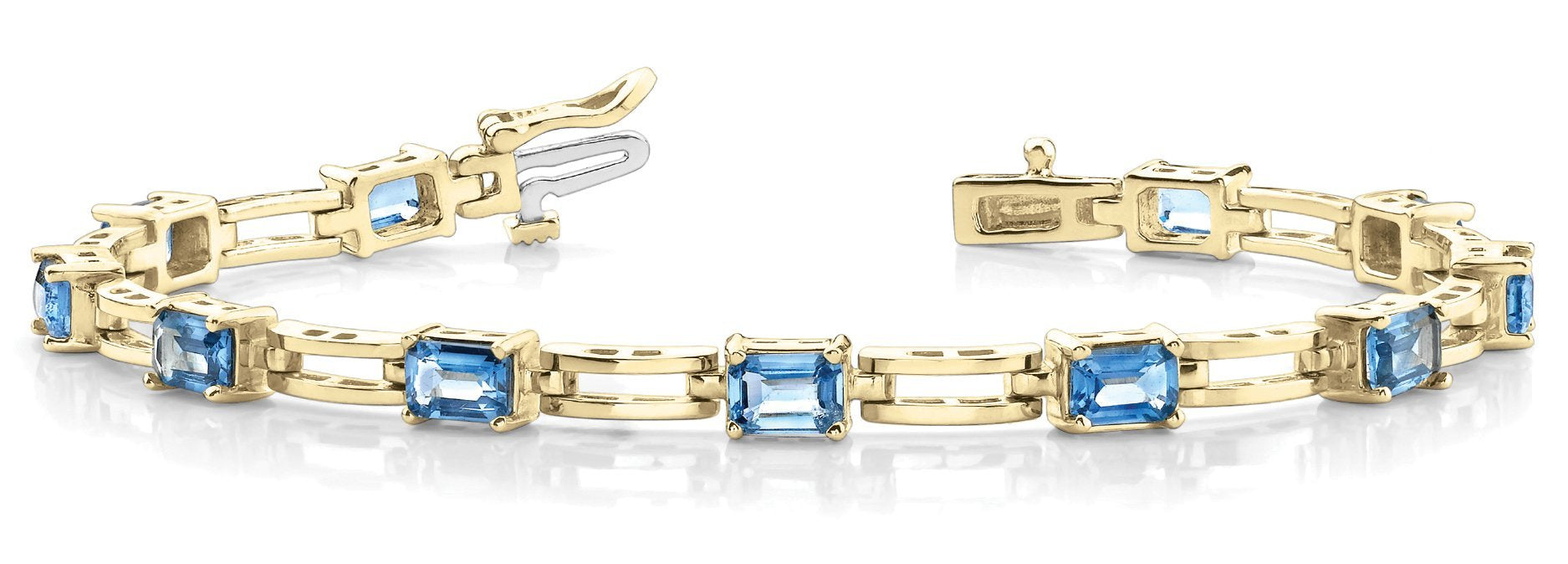 Blue Topaz 5.95ct Bracelet - 14kt Yellow Gold