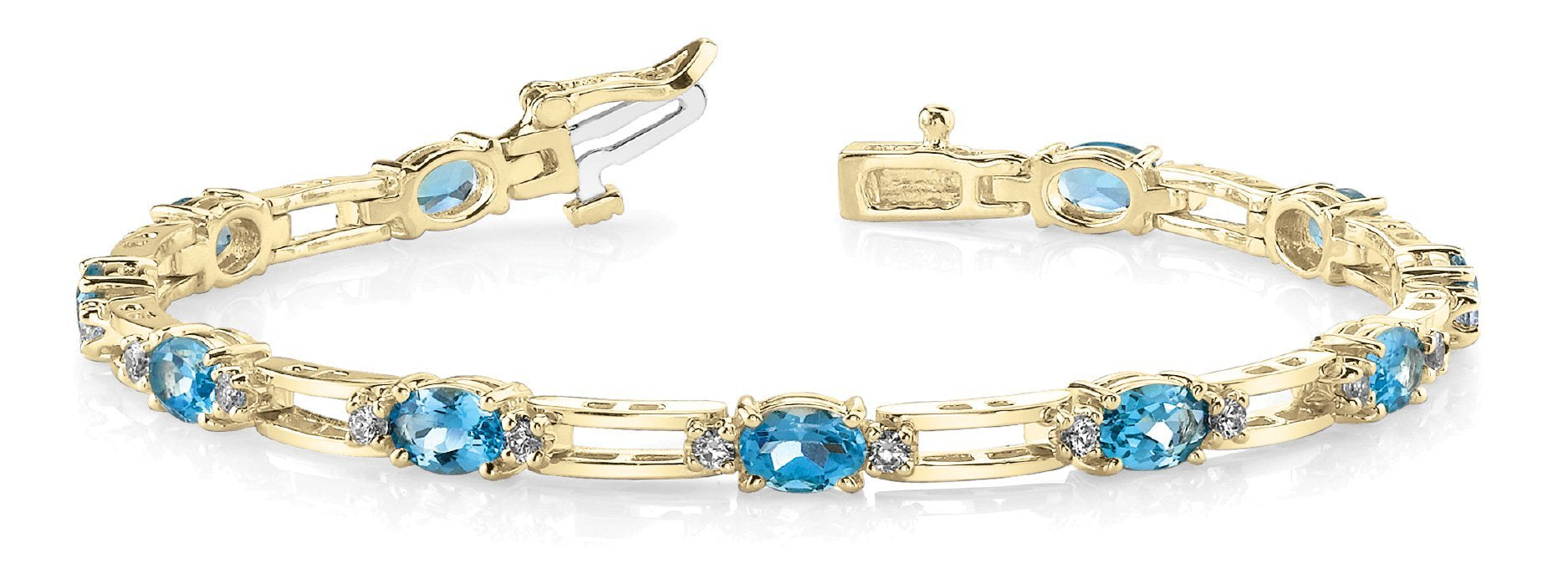 Blue Topaz 5.80ct & Diamond 0.49ct Bracelet - 14kt Yellow Gold