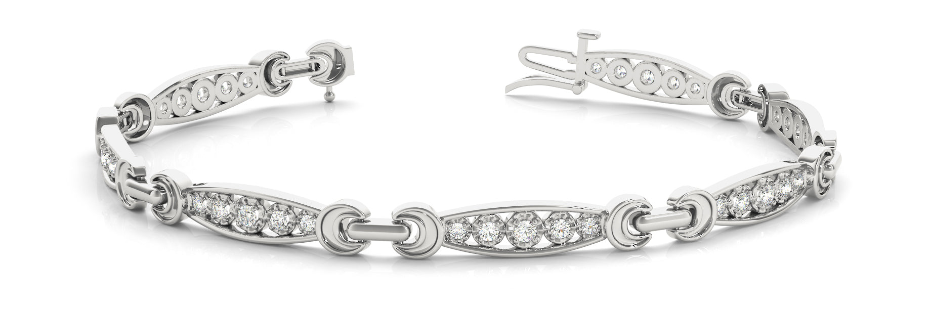 Fancy Diamond Bracelet Ladies 0.33ct tw - 14kt White Gold