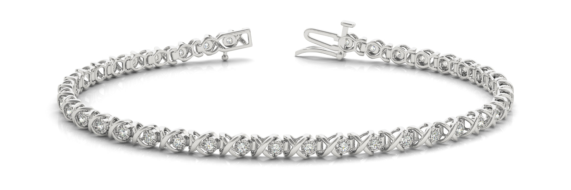 Fancy Diamond Bracelet Ladies 0.43ct tw - 14kt White Gold