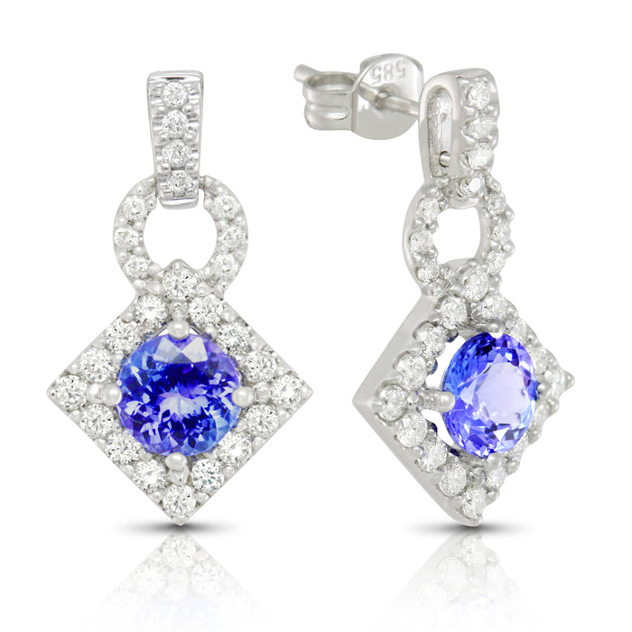 Tanzanite 1.75 ct tw earrings with 0.65 ct tw diamonds & 14kt Gold