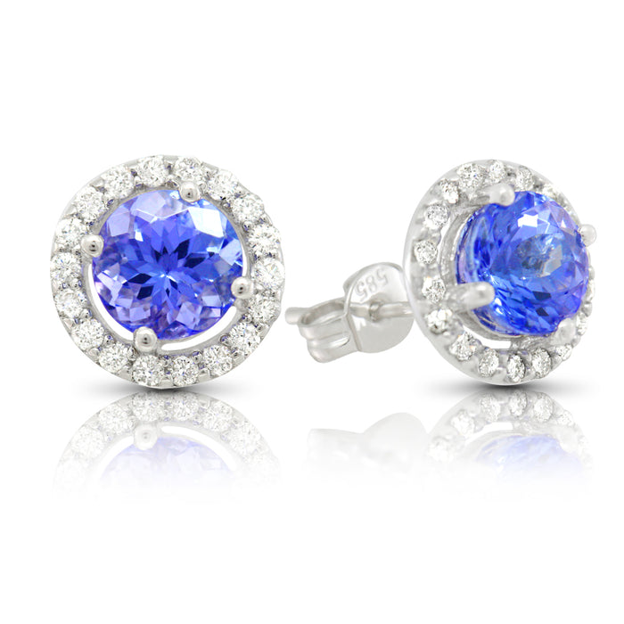 Tanzanite 1.60 ct tw earrings with 0.35 ct tw Diamonds & 14kt Gold