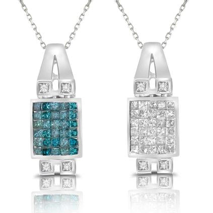 Blue and White Diamond Necklace Reversible 2.25cttw 14kt Gold