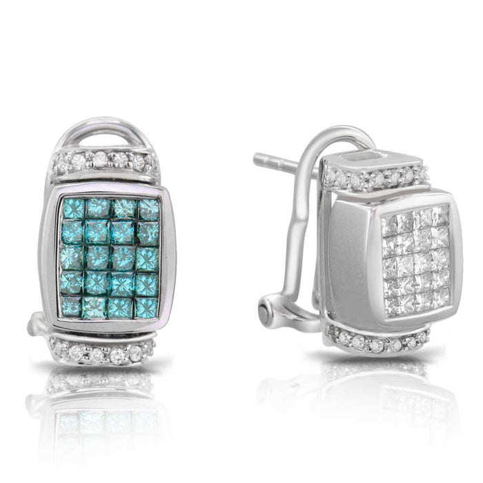 Blue and White Diamond Earring Reversible 1.86cttw 14kt Gold