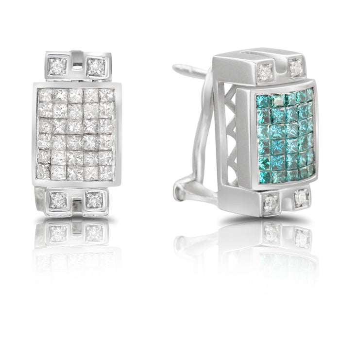 Blue and White Diamond Earring Reversible 2.22cttw 14kt Gold