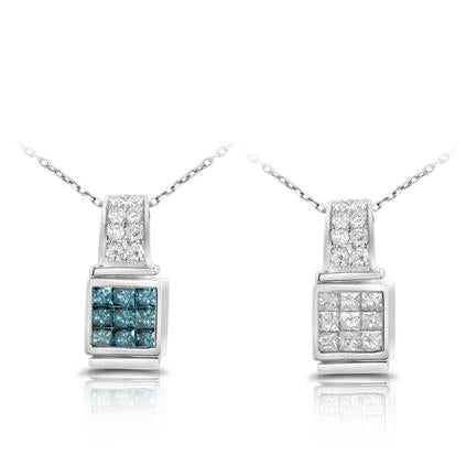 Blue and White Diamond Necklace Reversible 0.74cttw 14kt Gold