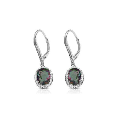 925 Sterling Silver Caymanique and Diamond Earrings, cttw