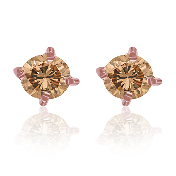 Choco Diamond Stud Earrings Round 0.55 ct tw 14kt Gold Rose
