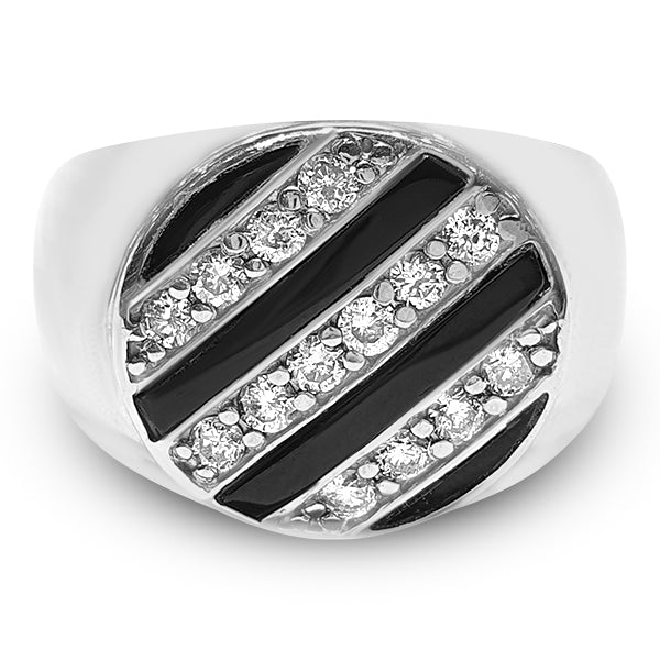 Men's Black Coral and Diamond Ring 0.70ct tw 14kt White Gold