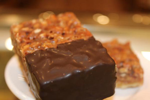 chocolate dipped pecan pie bars