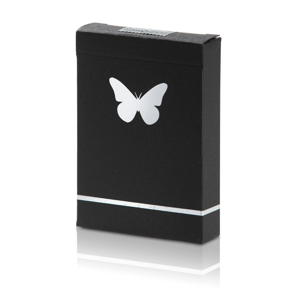 Butterfly Playing Cards Black & Silver Marked