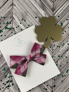 St. Patricks Plaid Mother of Pearl Bow
