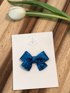 Princess Blue Glitter in Pearl Bow