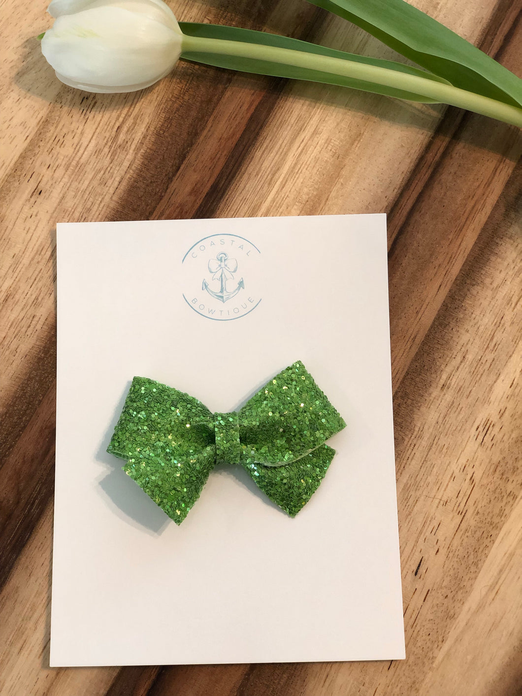 Lime Glitter in Pearl Bow