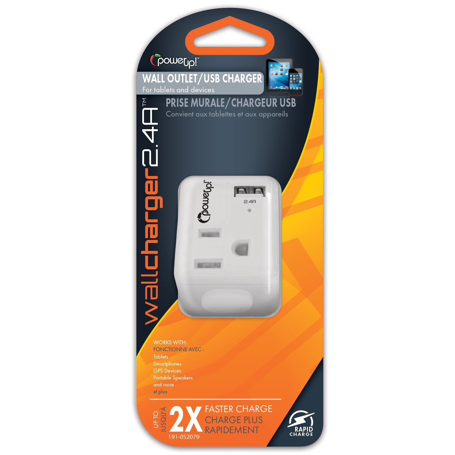 USB Wall Charger 2.4A with AC Outlet