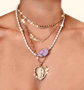 Pearl Amethyst Pendant Necklace