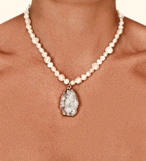 White Pearl Celestite Mineral Pendant Necklace