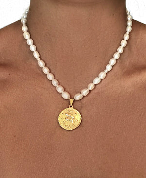 White Pearl Zodiac Sign Coin Necklace
