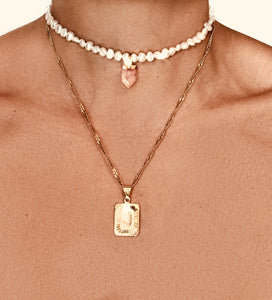 White Pearl Rose Quartz Choker