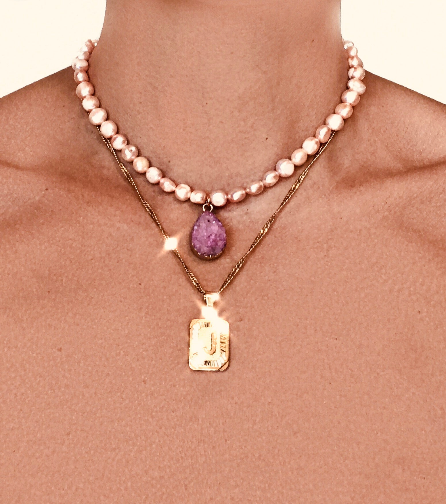 Pink Pearl Amethyst Drop Pendant Necklace