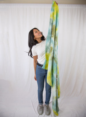 Blue, green, olive and aqua tapestry scarf